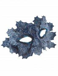Masque bleu avec feuilles pailletées bleues femme