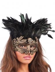 Masque doré avec plumes  femme