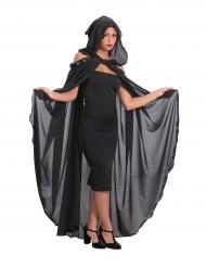 Cape longue noire avec capuche femme