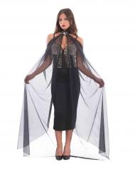 Cape longue noire avec collier femme