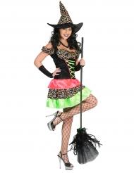 Déguisement sorcière à pois colorés femme Halloween