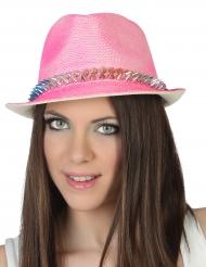 Chapeau borsalino rose avec bande cloutée adulte