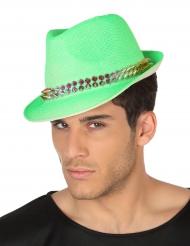 Chapeau borsalino verte avec bande cloutée adulte