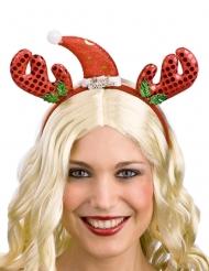 Serre-tête renne et bonnet rouge adulte Noël