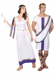 Déguisement de couple romain violet