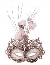 Loup pailleté rose luxe femme