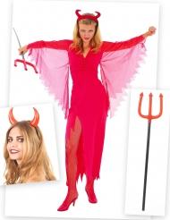Pack déguisement diablesse femme avec cornes et fourche Halloween
