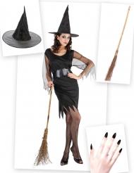 Pack déguisement sorcière femme avec balai et chapeau Halloween