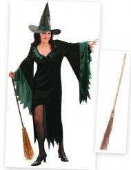 Pack déguisement sorcière femme avec balai Halloween