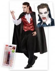 Pack déguisement vampire homme avec dents et faux sang Halloween