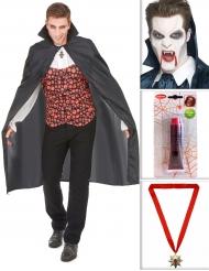 Pack de vampire avec cape, dents, faux sang et médaillon Halloween