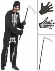 Pack déguisement squelette homme avec faux et gants Halloween
