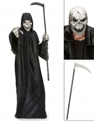 Pack déguisement faucheuse avec faux et masque Halloween