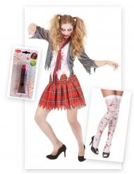 Pack déguisement zombie écolière avec faux-sang et bas Halloween