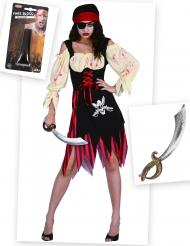 Pack déguisement pirate zombie avec faux sang et épée Halloween