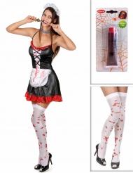 Pack déguisement soubrette zombie avec bas et faux sang Halloween
