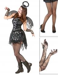 Pack déguisement ange gothique avec collants et gants Halloween