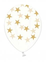 6 Ballons latex transparents étoiles dorées