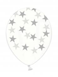 6 Ballons latex transparents étoiles argentées