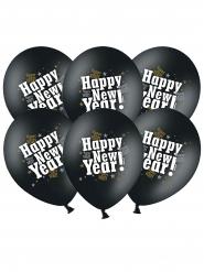 6 Ballons latex happy new year noir