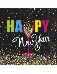 20 Serviettes en papier Happy new year confettis 33 x 33 cm