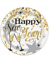 8 Petites assiettes en carton Happy new year scintillant 18 cm