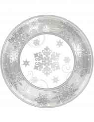 8 Petites Assiettes en carton flocons de neige 18 cm