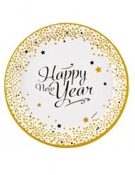 8 Assiettes en carton happy new year doré 23 cm