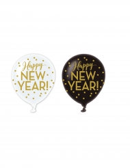 6 Ballons latex Happy new year doré 30 cm