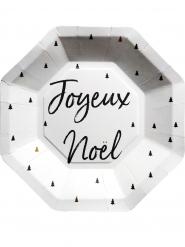 8 Assiettes octogonales Joyeux Noël graphique 23 cm
