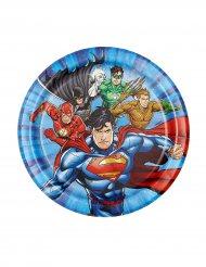 8 Petites assiettes en carton Justice League ™ 18 cm