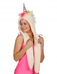 Bonnet en peluche licorne adulte