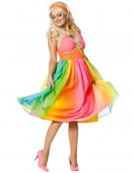Déguisement robe années 60 arc-en-ciel femme