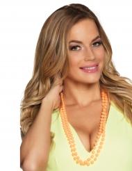 2 Colliers perles orange adulte