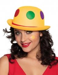 Chapeau clown à pois jaune adulte