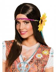 Perruque longue châtain avec tour de tête tournesol femme