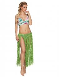 Jupe hawaïenne longue verte raphia adulte