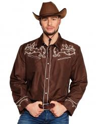 Chemise cowboy western marron adulte