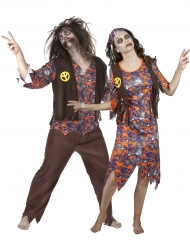 Déguisement de couple hippie zombie Halloween