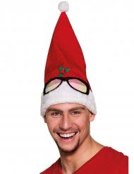 Bonnet rouge à lunettes humoristique adulte Noël