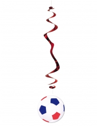 6 suspensions Ballon de Football bleu blanc rouge 80 cm
