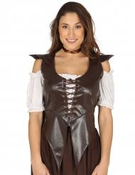 Corsage médiéval marron simili cuir femme