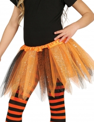 Tutu bicolore noir et orange à paillettes fille