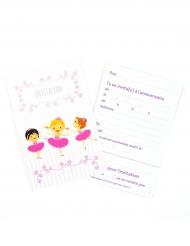 6 Cartons d'invitation avec enveloppes Ballerines