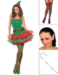 Pack déguisement elfe sexy femme avec bas, oreilles et canne