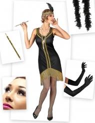 Pack déguisement charleston noir et doré femme