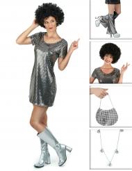 Pack déguisement disco argenté femme