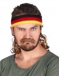 Bandeau Mulet Noir, rouge et Jaune avec moustache