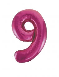 Ballon aluminium chiffre 9 fuchsia 63 X 86 cm