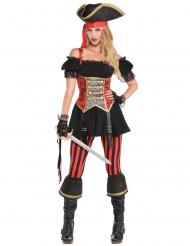 Déguisement pirate rouge et noir femme